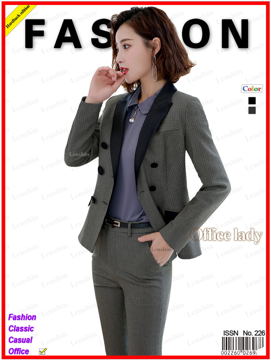 Lenshin High-quality 2 Piece Set Houndstooth Formal Pant Suit Blazer Office Lady Design Women Soft Jacket and Full-Length Pant 29