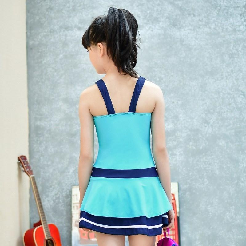 Korean-style Big Kid Swimming Suit 12-13-14-15-16-Year-Old High School Students GIRL'S Dress-Teenager Swimwear