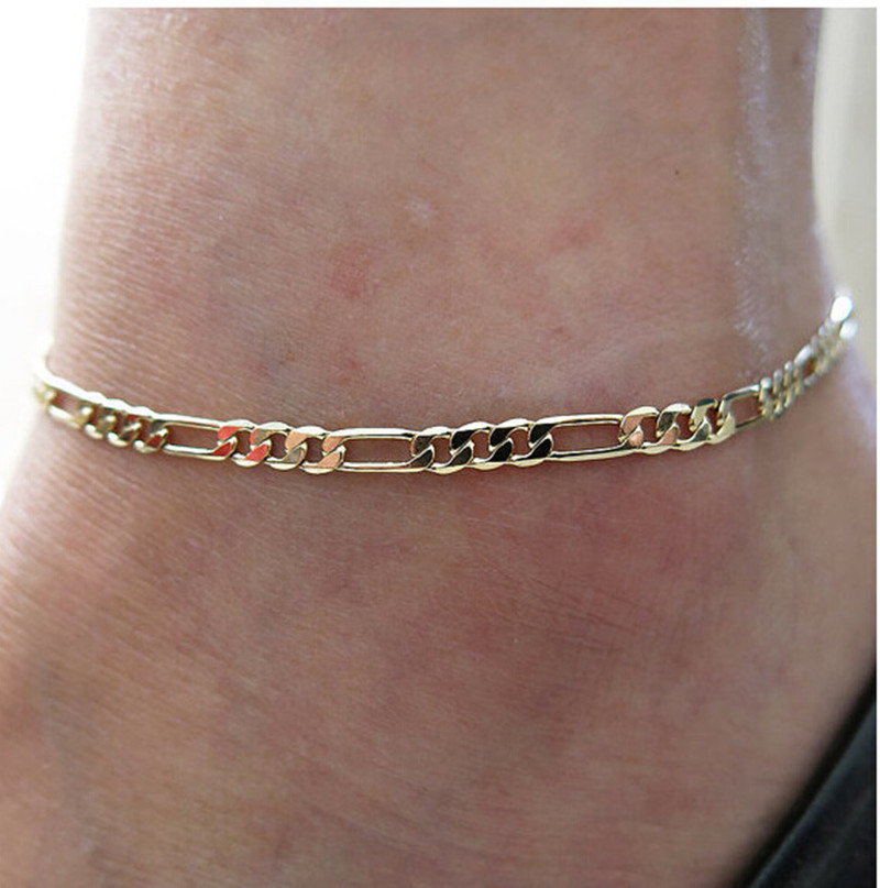 Retro Metal Gold/Silver Color Figaro Snake Link Chain Anklet for Women Men Ankle Bracelet Fashion Beach Accessories Foot Jewelry