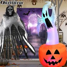 OurWarm Halloween Decoration Horror Props Hanging Ghost Photo Booth LED Inflatable Toys Ghost Pumpkin Haunted House Supplies ourwarm 180cm halloween decorations inflatable ghost pumpkin outdoor terror scary props inflatable toy haunted house supplies