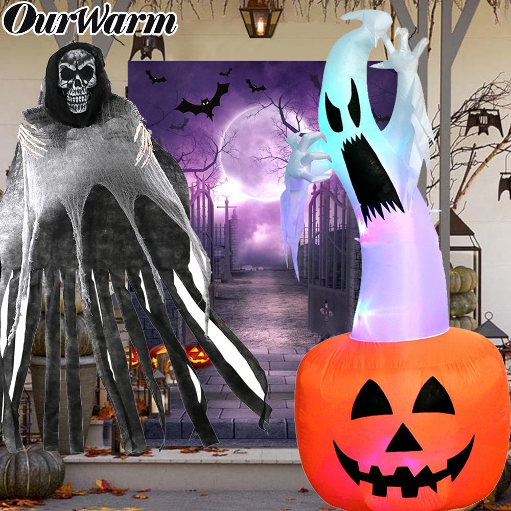 OurWarm Halloween Decoração Adereços Horror Fantasma Pendurado Photo Booth LEVOU Brinquedos Infláveis Abóbora Fantasma Assombrado Casa Suprimentos