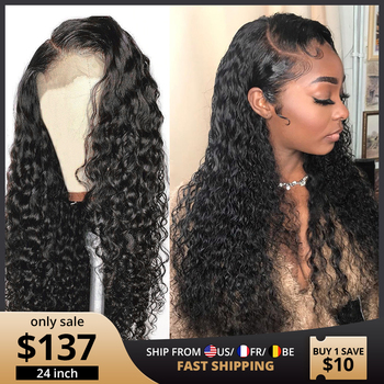 Głęboka fala peruki 13x4 kręcone woda koronkowa fala przodu peruki z ludzkich włosów dla czarnych kobiet Glueless brazylijski Remy kręcone ludzkie włosy peruki
