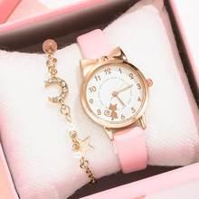Kinder Uhren Studenten Kinder Rosa Uhr Mädchen verkauf Leder Kind Stunden Katze Quarz Armbanduhr Mädchen Geschenk Uhren