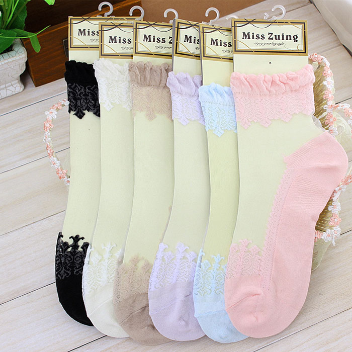 Women's Lace Transparent Crystal Socks Casual Ultrathin Elastic Candy-color Short Hosiery Fashion Beautiful Ankle Sock носки#A