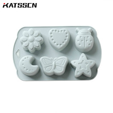 Kitchen MoonCake Silicone Mold DIY Chocolate Baking Decorations Moon/Star/Flower Pink and Blue Color Cake Molds 349