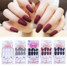 24pcs/set False Nail Tips Solid Color DIY Art Self-adhesive Sticker for Office Home
