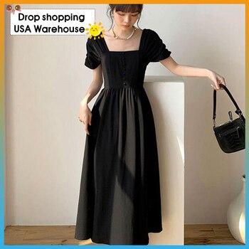French square shoulder  black dress open back slimming long skirt dress summer new 2020 For Women Fashion 2020 Streetwear alluring jewel neck leopard pattern open back dress for women