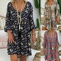 Floral Gedruckt Onkogene-Robe Femme Sommer Kleidung 2021 Für Frauen Damen Langarm Mini Kleid V-ausschnitt Plus Größe Frauen sommer Kleid