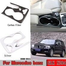 Soporte para vasos moldura de cubierta de marco para Mercedes Benz GLK X204 2008-2015 ABS cromado/fibra de carbono, pegatinas, accesorios para coche