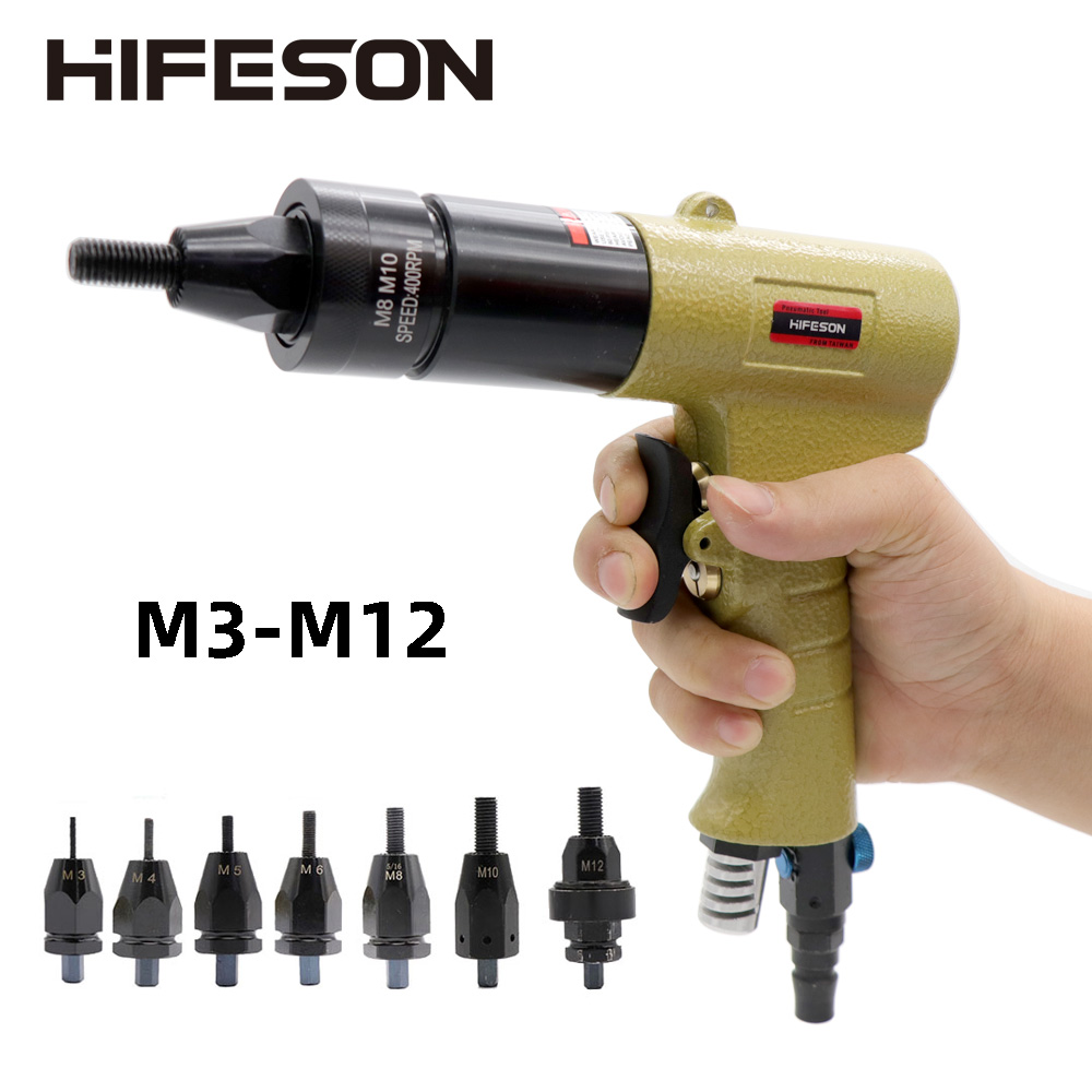 Pneumatic Air Rivet Nut Guns Insert Threaded Pull Setter Riveters Riveting Nuts Rivnut Tool For M3 M4 M5 M6 M8 M10 M12 Nuts