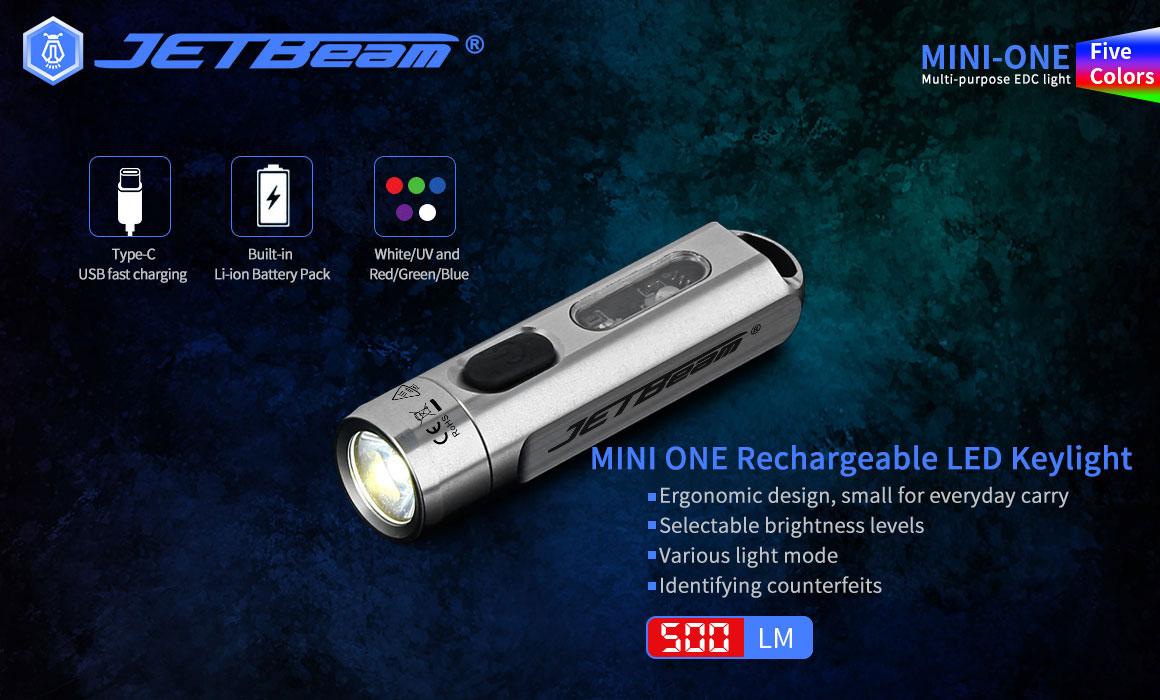 JETBEAM MINI 1 ONE 500LM 5-Colors Multi-purpose EDC Flashlight with UV Light