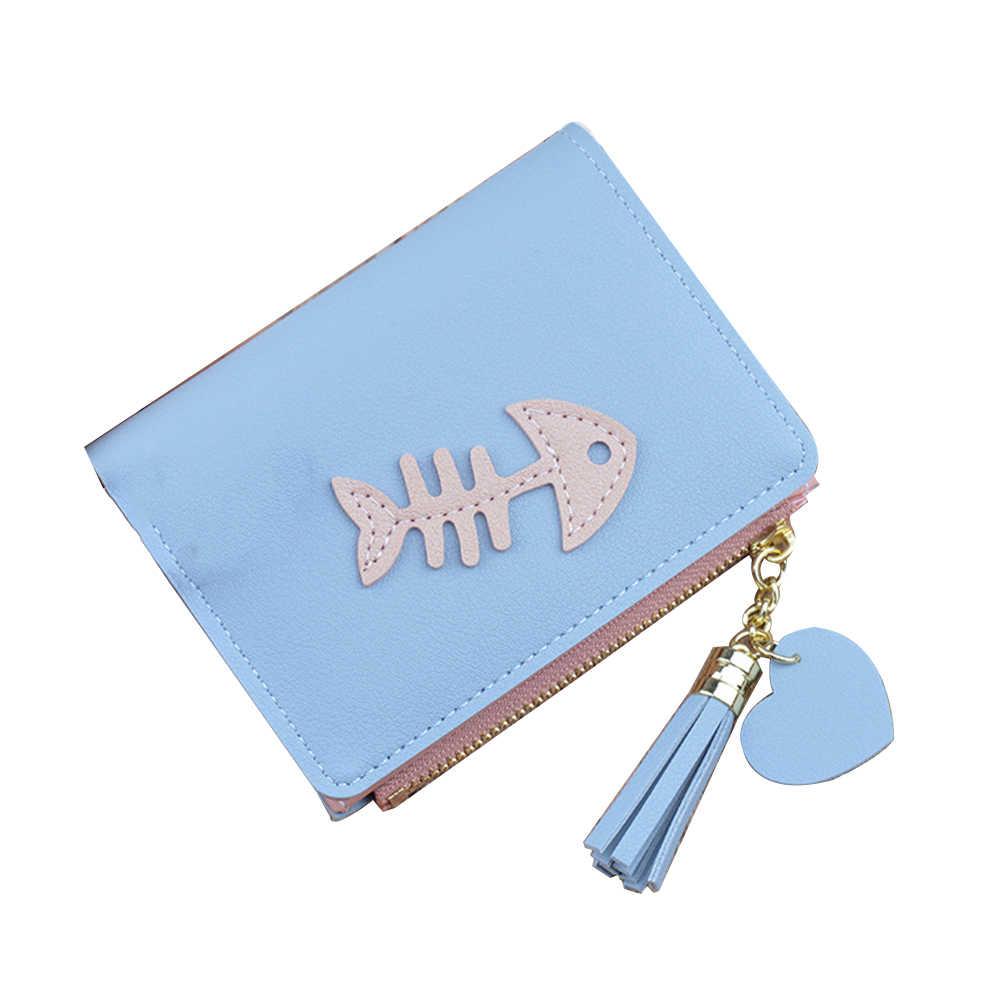 حار الأزياء الفتيات هيكل السمكة قصيرة جيوب ثنائية أضعاف محفظة محفظة البريدي إغلاق حامل بطاقة هدية