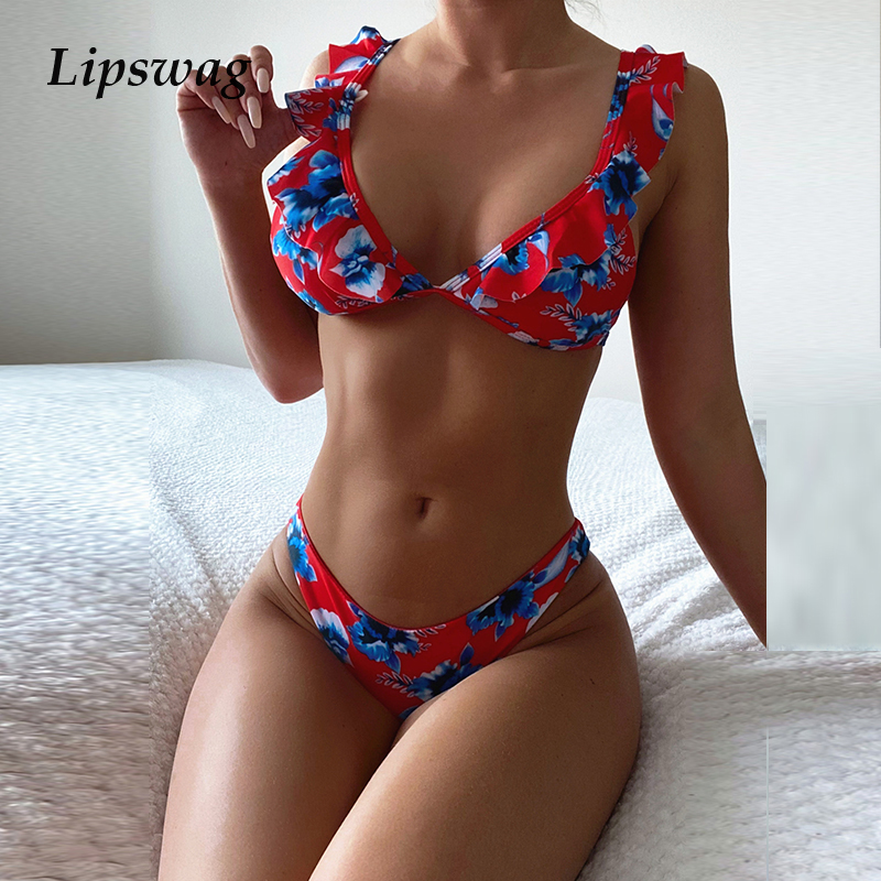Women Ruffle Print Low Waist Bikini Two Piece 2021 New Sexy Deep V Bow Swimwear Push Up Brazilian Summer Beachwear Bathing Suits 1
