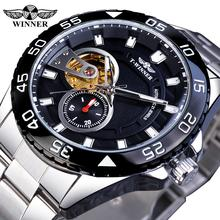 Winner Transparent Skeleton Mens Business Sport Stainless Steel Timepieces Hours Men Automatic Mechanical Watch Top Brand Luxury цена и фото