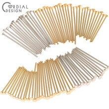 100 pçs pçs/lote pinos & agulhas para encantos/cobre metal/genuíno chapeamento de ouro/diy acessórios/feitos à mão/joias achados & componentes