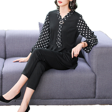 Office Lady Smart Casual Outfits Black 2 Piece Pant Suit Female Peplum Top And Trouser Suits Polka Dot Twinset Women Couture 5XL knot side polka dot peplum top