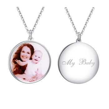 Round Sterling Silver Personalized Photo Necklace Custom Picture Color Engraved Dog Pendant Gift for Women Men