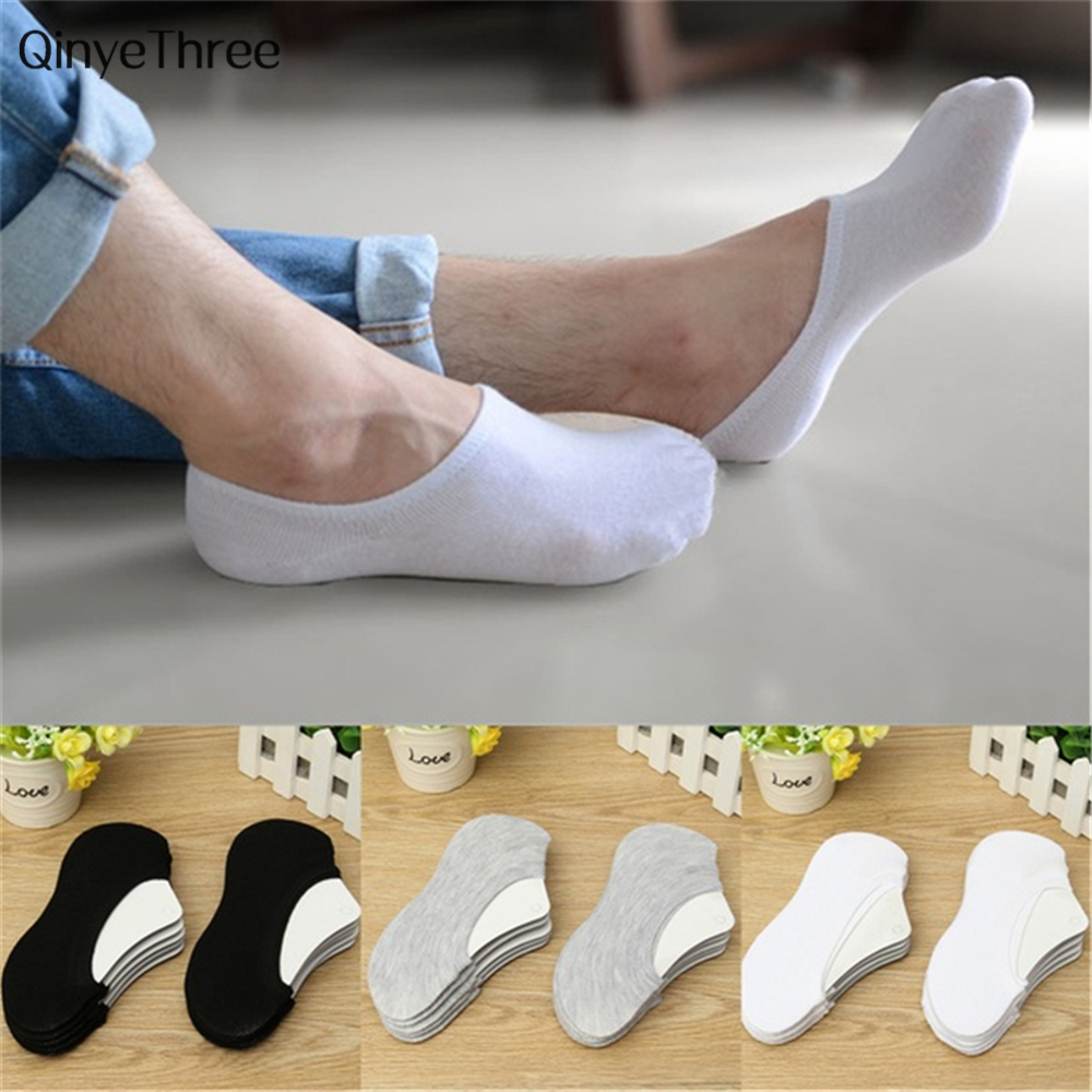 Men Cotton Loafer Boat Non-Slip Invisible Low Cut No Show Socks Unisex Socks 3colours
