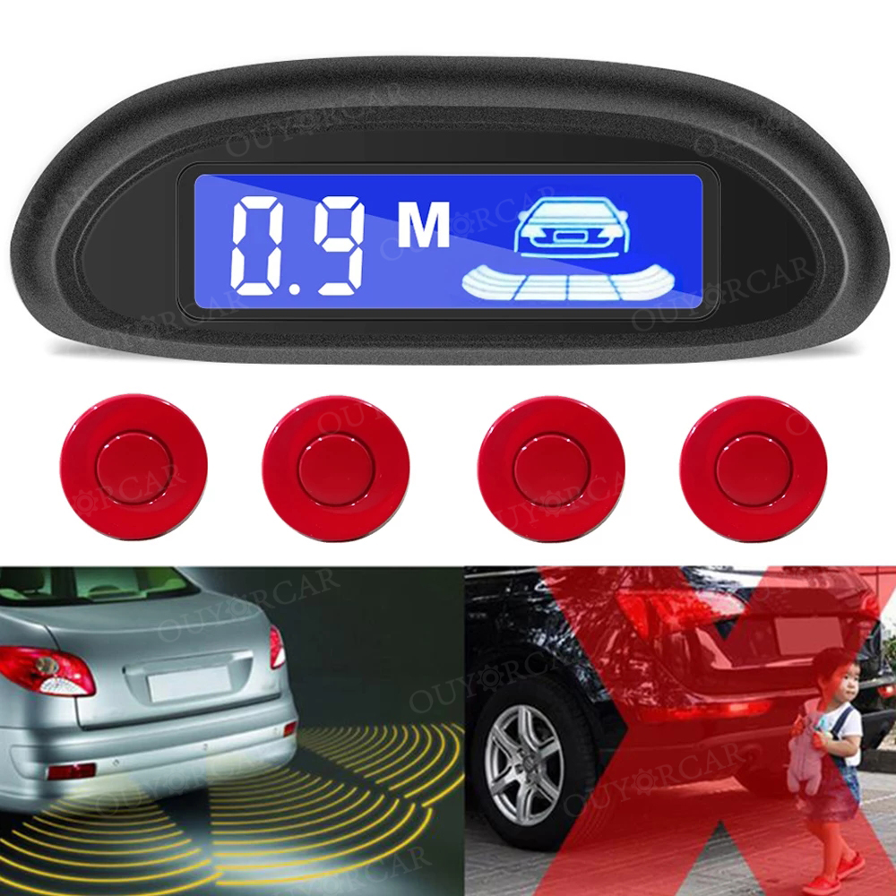 Car Auto Parktronic LED Parking Radar With 4 Parking Sensors Backup Car Parking Radar Monitor Detector System Backlight Display 4