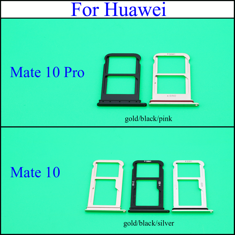 YuXi Brand New For Huawei Mate 10 Mate10 Pro Dual / Single SIM Card Tray Sim Slot Holder Reader Adapter Spare Parts