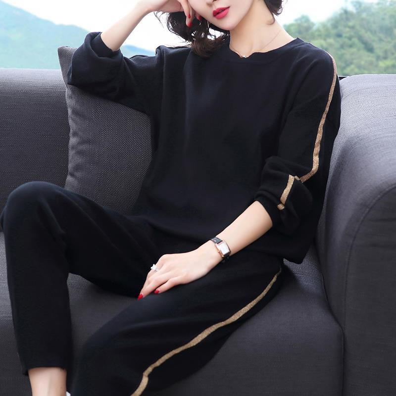 Women's Spring Autumn New Loose Pure Color Tracksuit Simple Casual Sportswear Style Age Reducing Two Piece Set Plus Size M-5xl