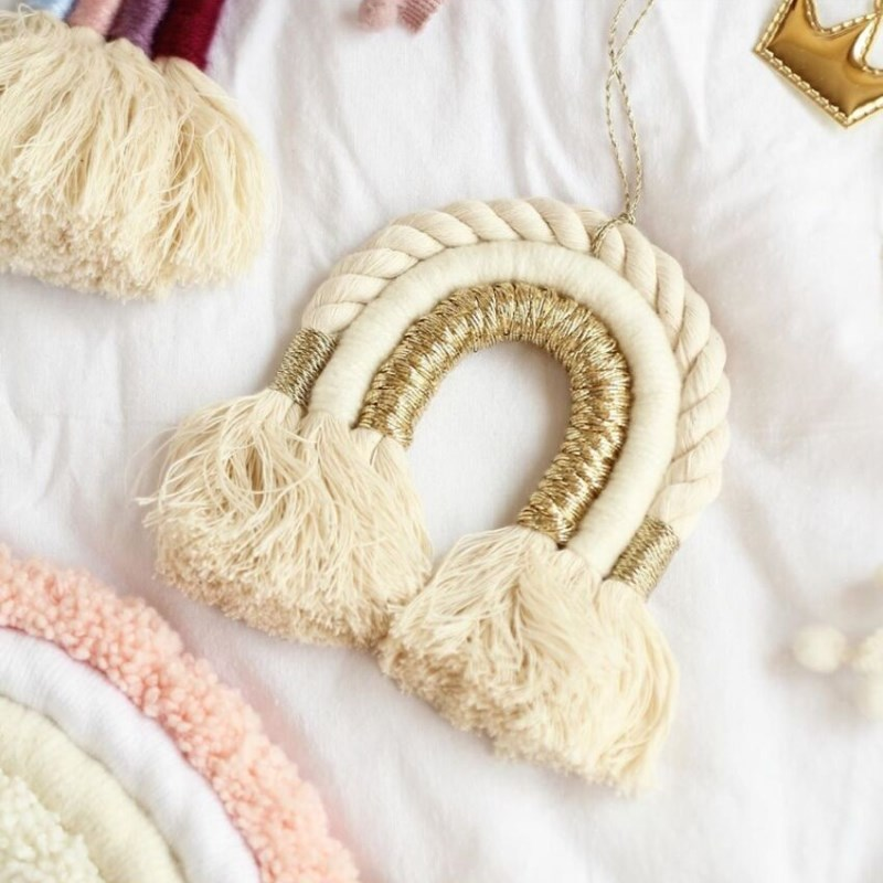 INS Nordic Hand-woven Rainbow Tassels Tapestry Children's Room Decoration Wall Hanging Ornaments Nursery Wind Chimes Photo Props