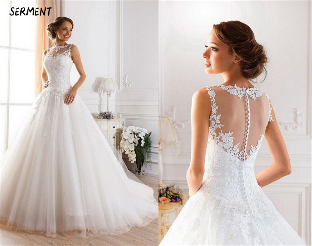 SERMENT Simple Lace Sleeve Wedding Dress Off The Shoulder Suitable For Pregnant Women Spring Summer Autumn Wedding
