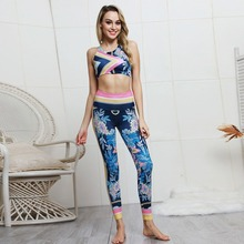 2019 New sports printing fitness vest trousers 2 pieces set