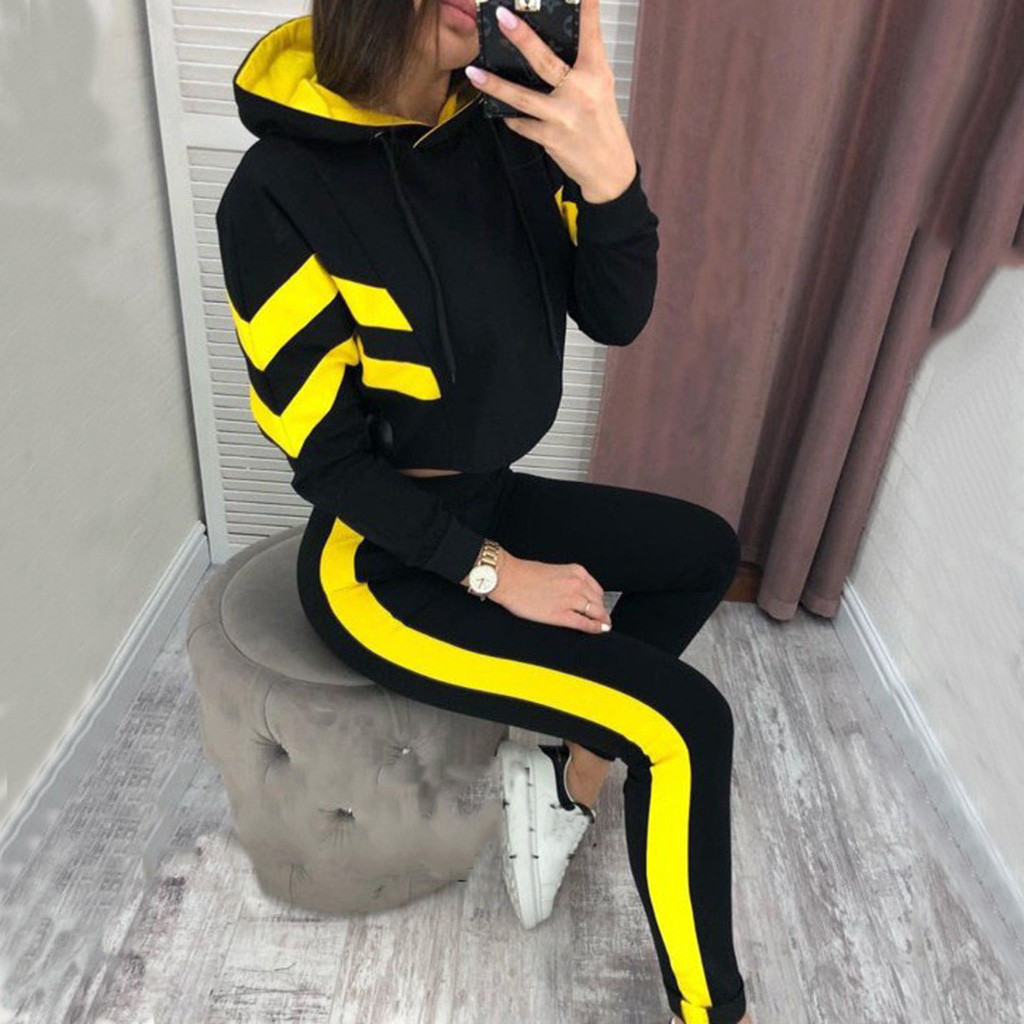 Women Splice Cropped Pullover Two-pieces Sweatshirt And Side Striped Pants Tracksuit Sets Jogging Female Winter Suit