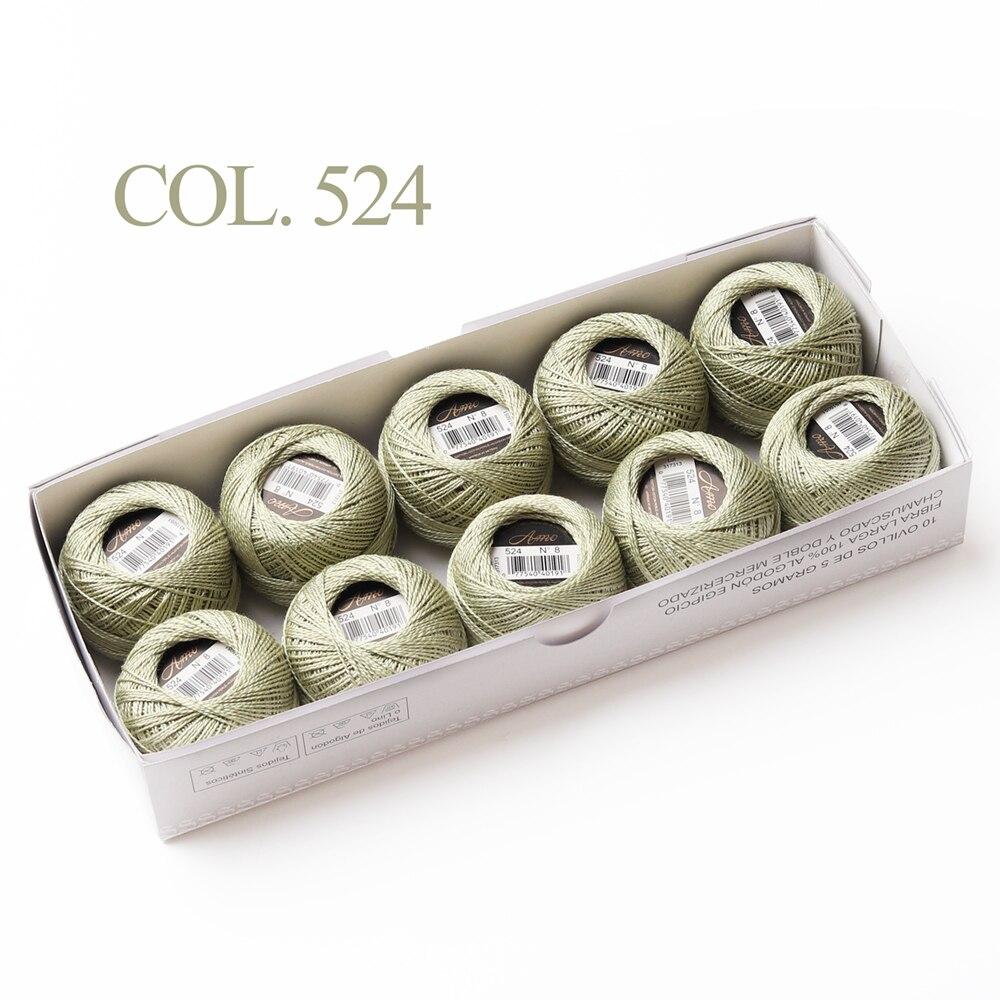 10 коробка с шариками Размер 8 жемчуг Хлопок нитки для вязания 43 ярдов двойная Мерсеризация длинный штапель из египетского хлопка 79 DMC цвета - Цвет: 524