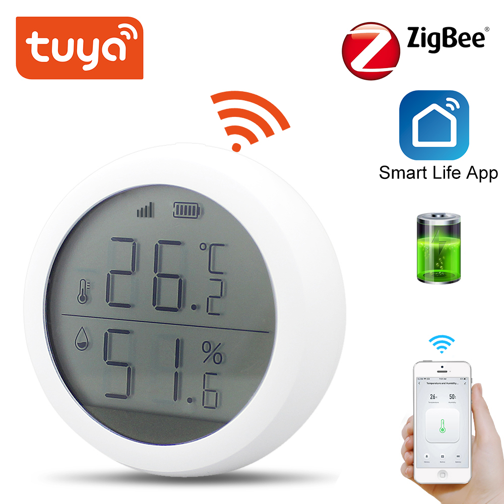 Tuya Zigbee Temperature And Humidity Sensor With LCD Screen Display One-click Linkage Home Automation Security Alarm Tuya Sensor
