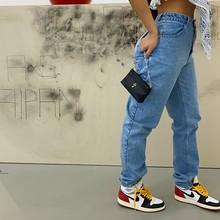 Kylie mesmo estilo, azul e cinza, super fácil de usar, design de bolso de bunda, calças denim lavadas pesadas