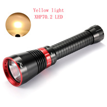 new Led Diving Flashlight 6000 Lumens XHP70.2 Yellow Light Super Brigh