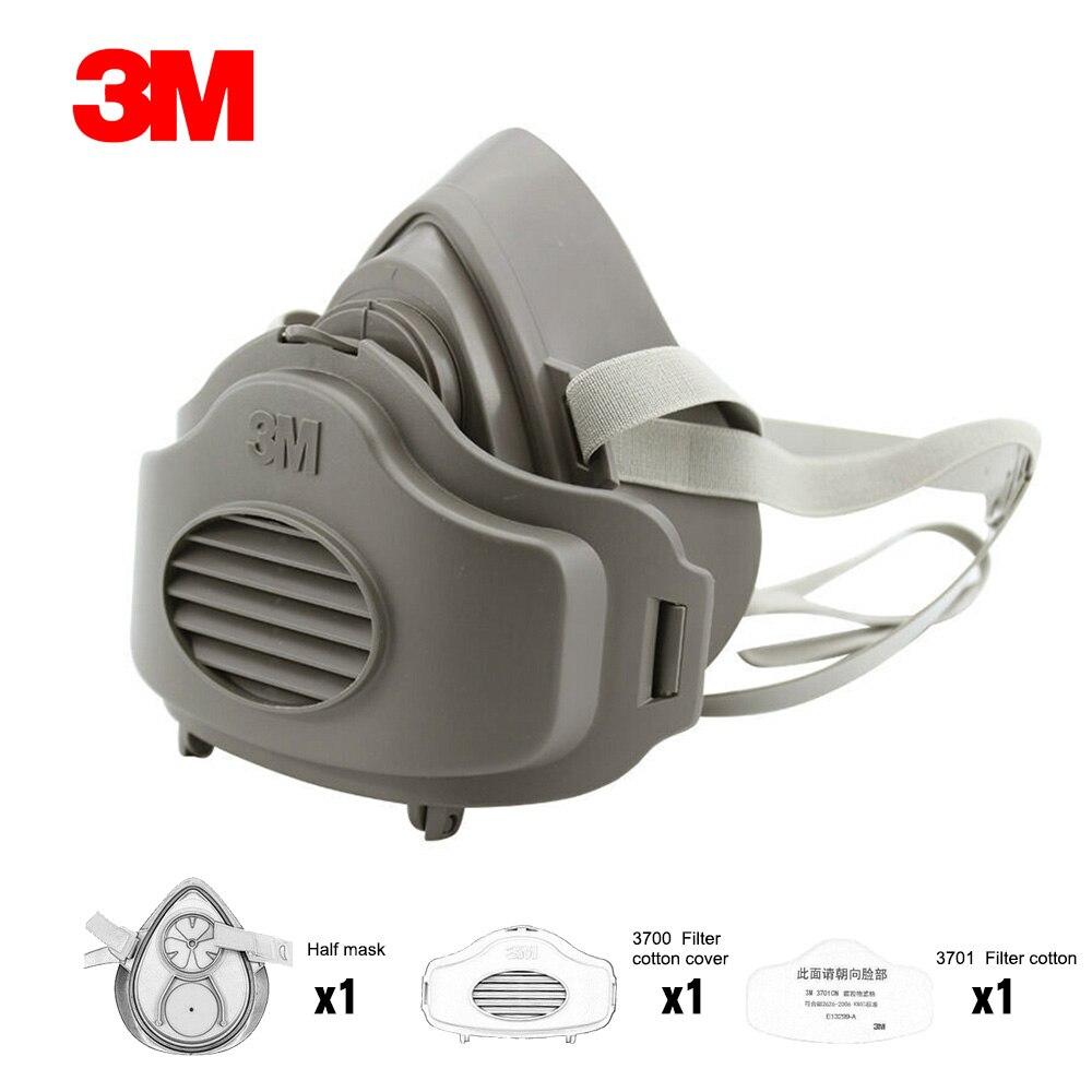 3M-mascarilla de Gas 3200, máscara respiradora de media cara a prueba de polvo, antiniebla de construcción Industrial, cubierta de algodón con filtro de Gas de seguridad