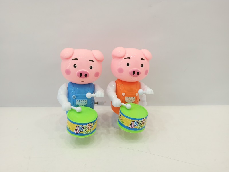 Winding Drum Lucky Pig Cartoon Animal Hot Selling Children'S Educational Plastic Wind-up Toy Stall Night Market