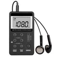 AM FM taşınabilir cep radyo, mini dijital ayar Stereo şarj edilebilir pil ve kulaklık için yürüyüş/koşu/spor/kamp