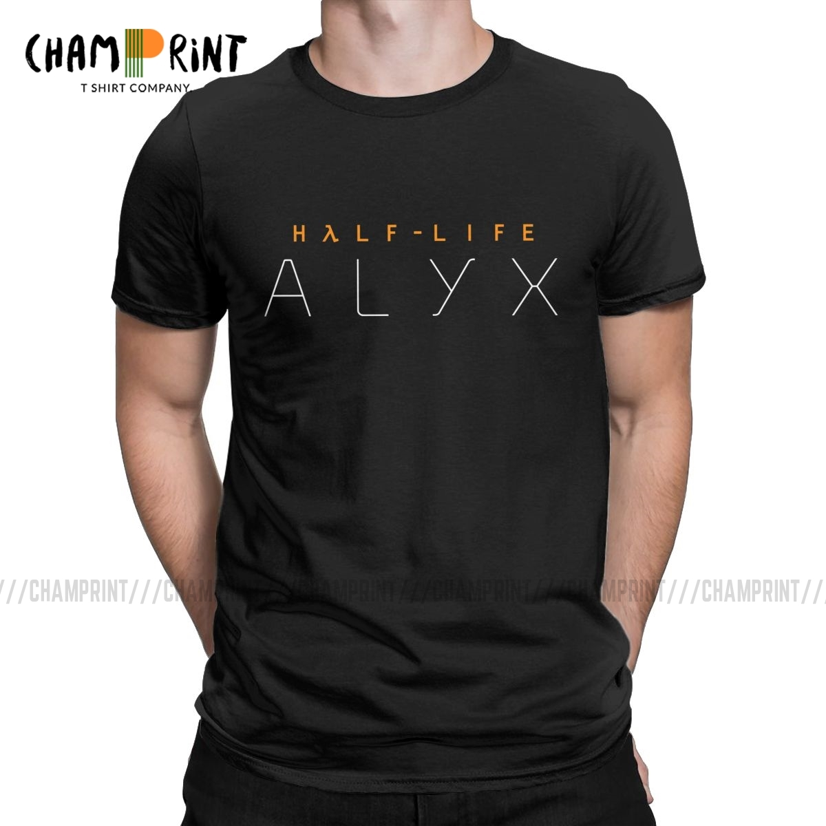 Men's Half Life Alyx Logo T Shirts Video Game Cotton Clothes Novelty Short Sleeve Crewneck Tees Graphic T-Shirt