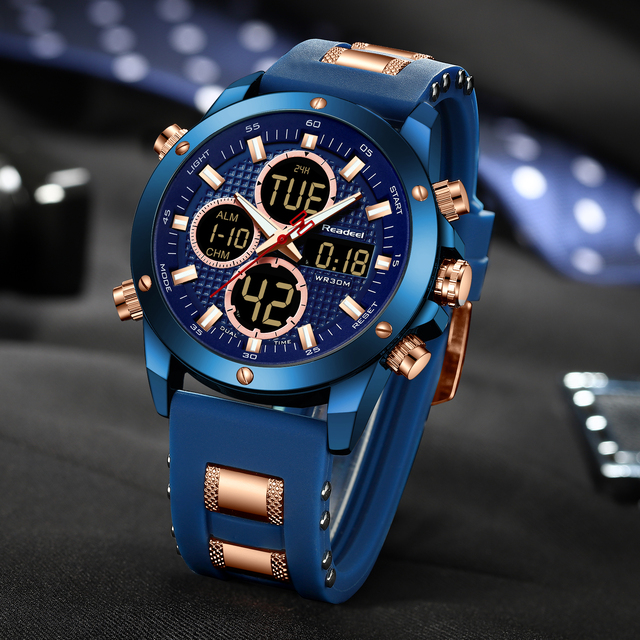 Readeel Men's Top Brand Luxury Chronograph Dual Display Sports Clock Waterproof Quartz Watches 4