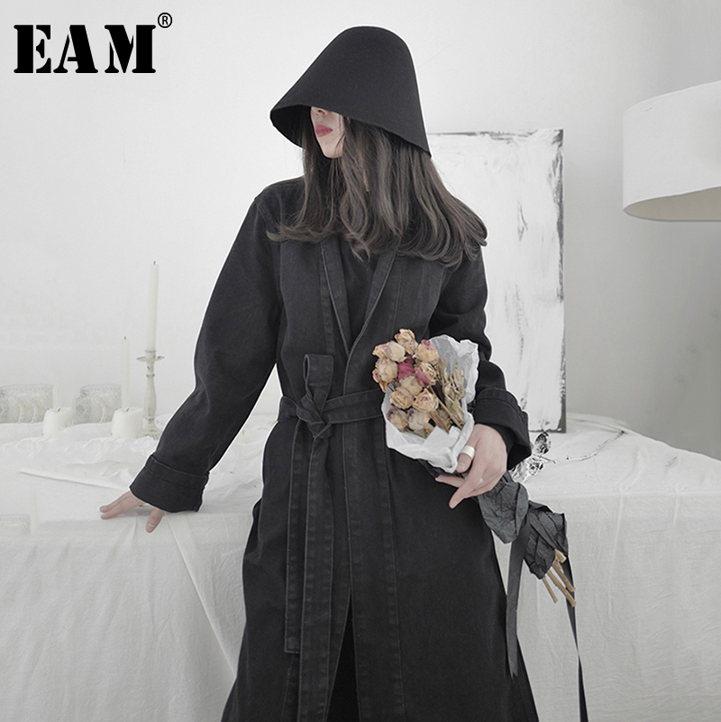 [EAM] Women Black Denim Bandage Stitch Long Trench New Lapel Long Sleeve Loose Fit Windbreaker Fashion Tide Spring 2020 1S215