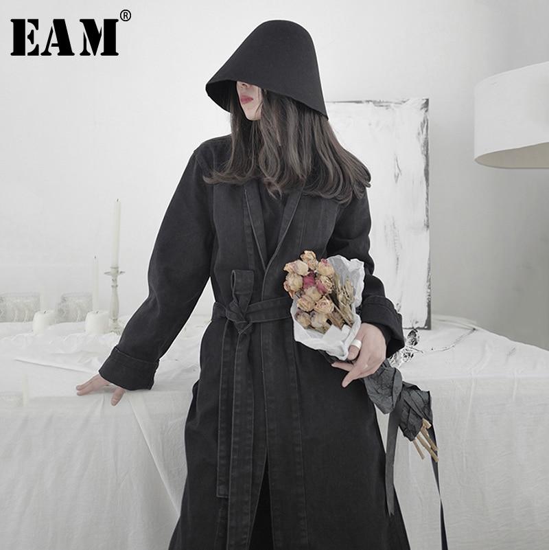 [EAM] Women Black Denim Bandage Stitch Long Trench New Lapel Long Sleeve Loose Fit Windbreaker Fashion Tide Spring 2020 1S215