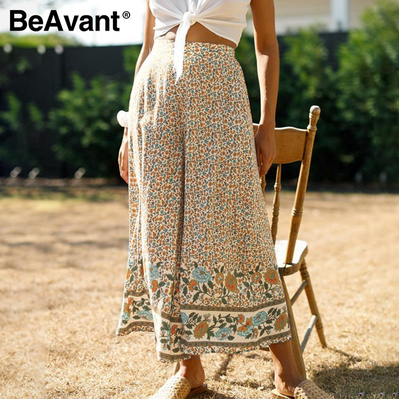 BeAvant Holiday Loose Long Pants Women Floral Print Wide Leg Casual Pants Summer Female 2020 Boho Pants Trousers Elastic Waist