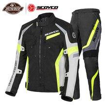 SCOYCO Men Motorcycle Jacket Winter Moto Jackets +Motorcycle Pants Motorcycle Suit Motocross Riding Jacket Moto Protector