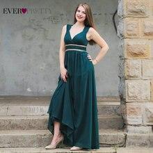 Robes de soirée formelles longues EP08697 jamais jolies femmes élégant bleu marine blanc col en V sans manches Empire robes de soirée 2020 nouveau