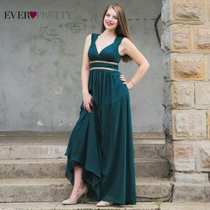 Image 1 - Robes de soirée formelles longues EP08697 jamais jolies femmes élégant bleu marine blanc col en V sans manches Empire robes de soirée 2020 nouveau