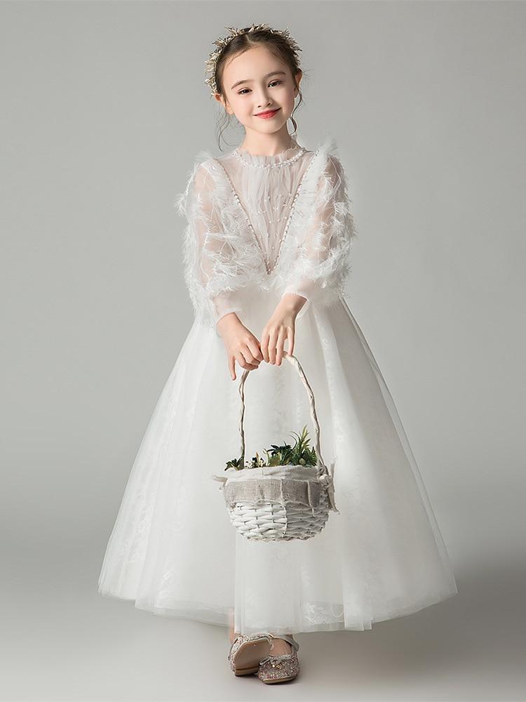 Blanc plume lanterne manches robes de fille de fleur pour mariage perles Appliques enfants robe de reconstitution historique pour la fête d'anniversaire