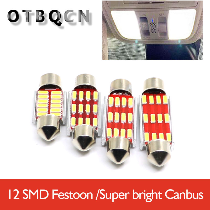 Festoon Doom Lamp 31mm 36mm 39mm 41mm LED Bulb C5W C10W Super Bright 12V Auto Interior Reading Lights <font><b>12</b></font> <font><b>SMD</b></font> 4014 <font><b>SMD</b></font> Canbus Err image