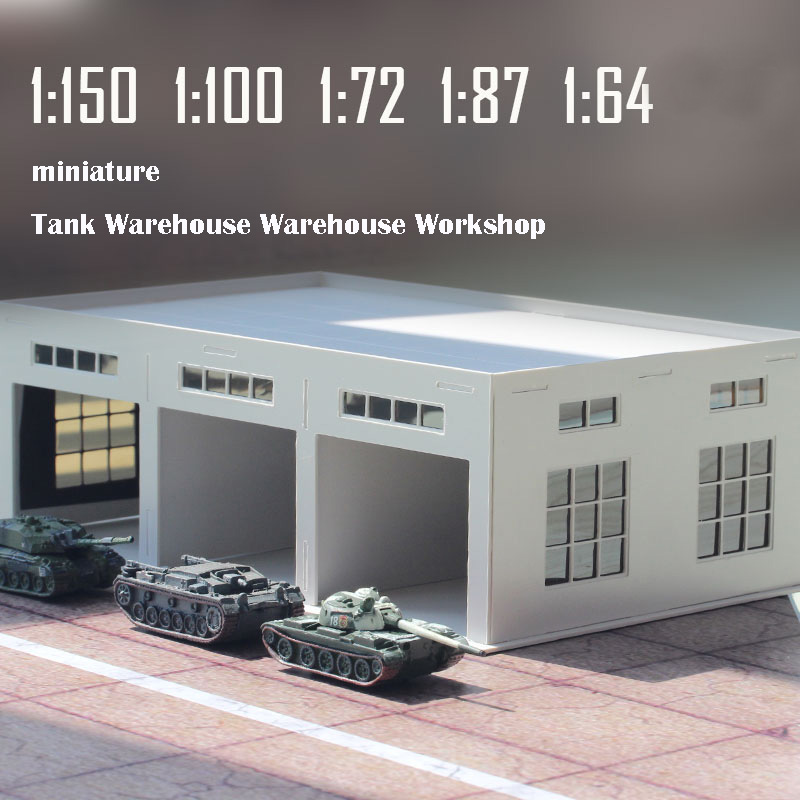 Miniature  Tank Warehouse  Warehouse Workshop  Sand Table Model Pendant  Plastic Assembly  1:150/100/87/72/64