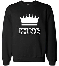 Imperial Crown King Queen Print Women Men Sweatshirts for Lover Casual Pullover 2019 Autumn Couple Matching Chic Hooded Hoodies недорого