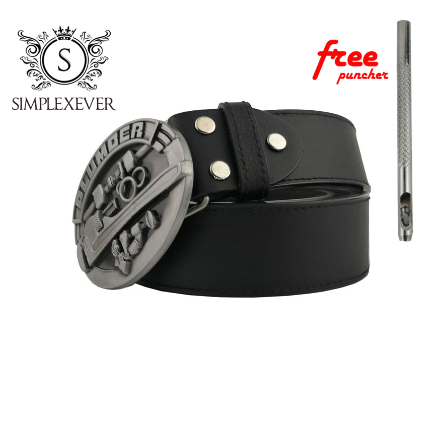 Belts With Metal Tool Plumber Belt Buckle Silver Plated Mens Belt Buckles Head With PU Belt Dropshipping 2020