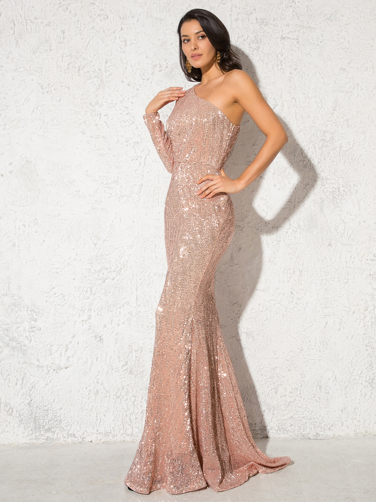 One Shoulder Stretchy Backless Sequin Long Bridesmaid Dress 7